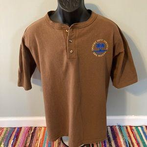 80s Desert Hot Springs Spa Hotel Shirt Brown XL